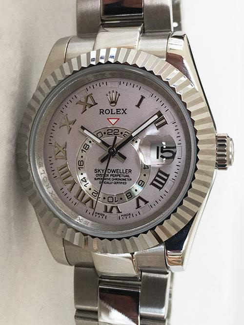 Replica Uhr Rolex Sky-Dweller 01 (42 mm) Graues Zifferblatt Oystersteel Edelstahl 316L Automatikwerk