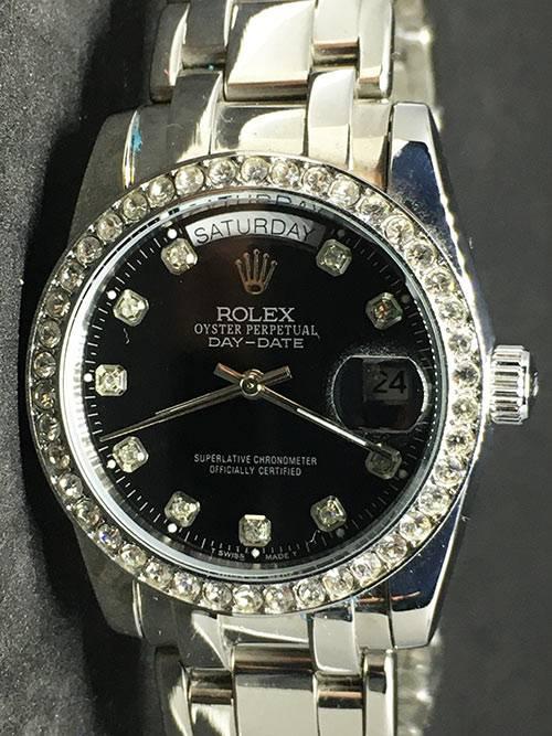 Replica Uhr Rolex Daydate 03 (37mm) Schwarz Diamonds Diamanten Edelstahl 316L Gold Automatikwerk
