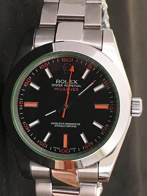 Replica Uhr Rolex Milgauss 01 (40 mm) 116400GV (schwarzes Zifferblatt) Oystersteel Edelstahl 316L Automatikwerk