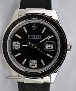 Replica UhrRolex Datejust 15 (37 mm)(schwarzes Zifferblatt) Rubber Edelstahl 316L Automatikwerk