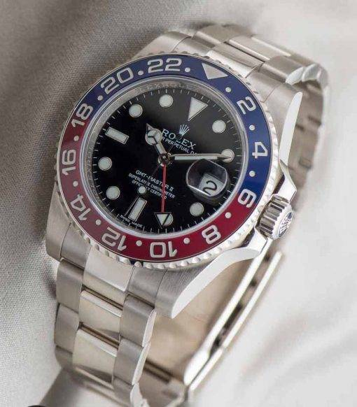 Replica Uhr Rolex Gmt-master ll 01 (40 mm) 116719BLRO Pepsi rot/blau Oystersteel Date (schwarzes Zifferblatt) Edelstahl 316L Automatikwerk