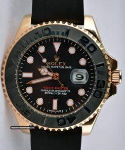 Replica Uhr Rolex Yacht master 03 (40mm) 116655 Gold Oystersteel (schwarzes Zifferblatt) Edelstahl 316L Automatikwerk