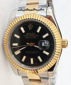 Replica Uhr Rolex Datejust 25 (41mm) 126333 Oyster band (Schwarzes Zifferblatt) Gold Edelstahl 316L Automatikwerk