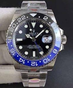 Replica Uhr Rolex Gmt-master ll 02 (40 mm) 116710BLNR Batman Blau/Schwarz Oystersteel Date (schwarzes Zifferblatt) Edelstahl 316L Automatikwerk
