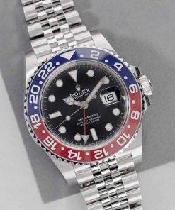 """Replica Uhr Rolex Gmt-master ll 08 (40mm) 126710BLRO """"Pepsi"""" Jubiläumsband Date (Schwarzes Zifferblatt) Edelstahl 316L Automatikwerk"""