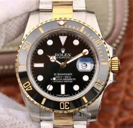 """Replica Uhr Rolex Submariner 05 (40mm) 116613LN """"schwarz"""" Bi-Color Oystersteel (schwarzes Zifferblatt) Edelstahl 316L Automatikwerk"""