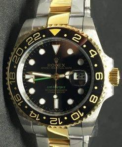 Replica Uhr Rolex Gmt-master ll 09 (40 mm) Austernband Bi-color Gold Date Oystersteel (schwarzes Zifferblatt) Edelstahl 316L Automatikwerk
