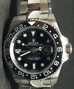 Replica uhr Rolex Gmt-Master (40mm) 16710LN Austernband Schwarzes Zifferblatt Edelstahl 316L Automatikwerk