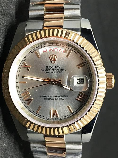 Replica Uhr Rolex Day-Date 02 (40mm) Graues Zifferblatt Bi-color (President Band) Edelstahl 316L Automatikwerk