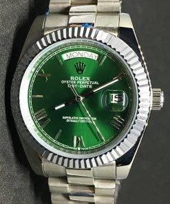 Replica Uhr Rolex Day-Date 05 (40mm) Grünes Zifferblatt (President band) Weißes Gold Edelstahl 316L Automatikwerk