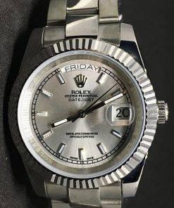 Replica Uhr Rolex Day-Date 06 (40 mm) Graues Zifferblatt (Oyster band) Edelstahl 316L Automatikwerk