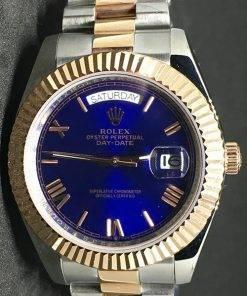 Replica Uhr Rolex Day-Date 07 (40 mm) Blaues Zifferblatt (President band) Bi-Color Edelstahl 316L Automatikwerk