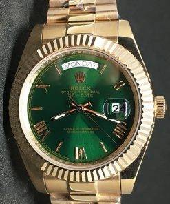 Replica Uhr Rolex Day-Date 08 (40 mm) Grünes Zifferblatt (President band) Edelstahl 316L Gold Automatikwerk