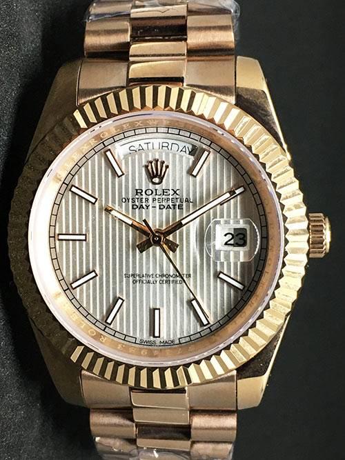 Replica Uhr Rolex Day-Date 09 (40 mm) Weißes Zifferblatt (President band) Gold Edelstahl 316L Gold Automatikwerk