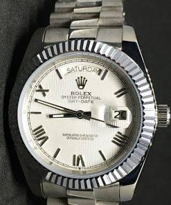 Replica Uhr Rolex Day-Date 12 (40mm) Weißes Zifferblatt (President band)Edelstahl 316L Gold Automatikwerk