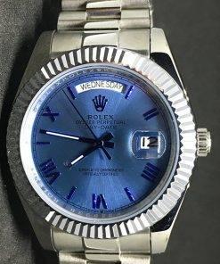 Replica Uhr Rolex Day-Date 13 (40mm) (Blaues Zifferblatt) President band) Edelstahl 316L Gold Automatikwerk