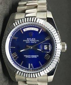 Replica Uhr Rolex Day-Date 14 (40 mm) Blaues Zifferblatt (President band) Edelstahl 316L Gold Automatikwerk