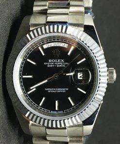 Replica Uhr Rolex Day-Date 15 (40mm) Schwarzes Zifferblatt (President band) Edelstahl 316L Gold Automatikwerk