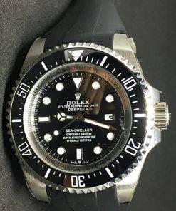 Replica Uhr Rolex Sea Dweller 02 Deepsea (44mm) 126660 (schwarzes Zifferblatt) Gummi-armband/ Oystersteel Edelstahl 316L Automatikwerk