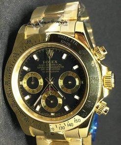 Replica Uhr Rolex Daytona 01 cosmograph (40 mm) Schwarzes Zifferblatt Oystersteel Edelstahl 316L mit 18 Karat vergoldet Automatikwerk