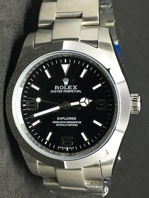 Replica Uhr Rolex Explorer 01 (39mm) 214270 (schwarzes Zifferblatt) Oystersteel Edelstahl 316L Automatikwerk
