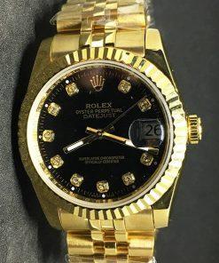 Replica Uhr Rolex Datejust 35 (36mm) (Jubilee band) Schwarzes Zifferblatt (Diamanten) Gold (Edelstahl 316L Automatikwerk