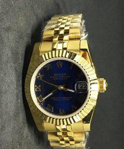 Replica uhr Rolex Datejust Damen 02 (28mm) Blaues Zifferblatt (Jubilee band) Gold Automatikwerk, 316L edelstahl