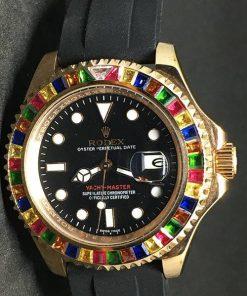 Replica Uhr Rolex Yacht master 01 (40mm) Gold Oystersteel (schwarzes Zifferblatt) Edelstahl 316L Automatikwerk