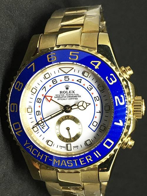 Replica Uhr Rolex Yacht master ll 07 (42mm) weißes Zifferblatt Gold Edelstahl 316L Automatikwerk