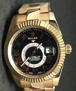 Replica Uhr Rolex Sky-Dweller 02 (42 mm) Schwarzes Zifferblatt Gold Oystersteel Edelstahl 316L mit 18 Karat vergoldet Automatikwerk