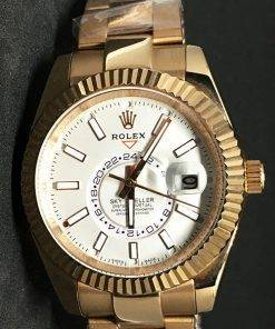 Replica Uhr Rolex Sky-Dweller 03 (42 mm) Weißes Zifferblatt Gold Oystersteel Edelstahl 316L mit 18 Karat vergoldet Automatikwerk