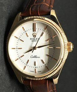 Replica Uhr Rolex Air King 01 (39 mm) 50505 (weißes Zifferblatt) Edelstahl 316L mit 18 Karat Everose-Gold Automatikwerk