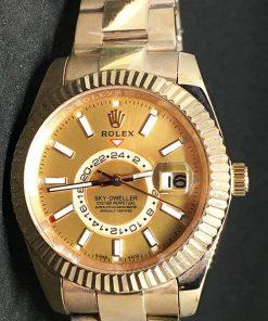 Replica Uhr Rolex Sky dweller 04 (42 mm) Goldzifferblatt Oystersteel Edelstahl 316L mit 18 Karat vergoldet Automatikwerk