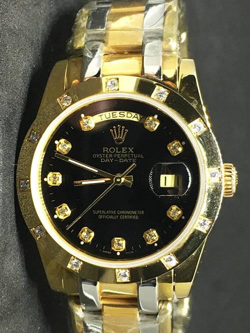 """Replica Uhr Rolex Daydate 04 (37mm) Gold Diamonds """"schwarz"""" Bi-Color Oystersteel (schwarzes Zifferblatt) Edelstahl 316L Automatikwerk"""