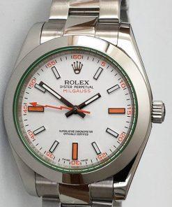 Replica Uhr Rolex Milgauss 02 (40 mm) 116400GV (weißes Zifferblatt) Oystersteel Edelstahl 316L Automatikwerk