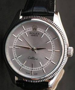 Replica Uhr Rolex Air King 02 (39 mm) Leder band (graues Zifferblatt) Edelstahl 316L Automatikwerk