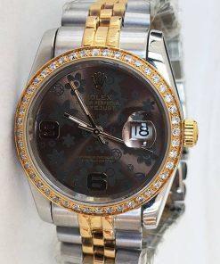 Replica Uhr Rolex Datejust damen 41 (36mm) (Jubilee band) Bi-color geblümtes Zifferblatt / Edelstahl 316L Automatikwerk, Gold