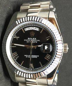 Replica horloge Rolex Day-Date 20 (40 mm) 228238 President band (Schwarzes Zifferblatt) Oystersteel Edelstahl 316L Automatikwerk