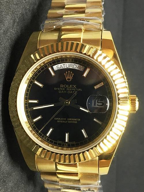 Replica Uhr Rolex Day-Date 17 (40 mm) 228238 Schwarzes Zifferblatt GoldGold Oystersteel Edelstahl 316L mit 18 Karat vergoldet Automatikwerk