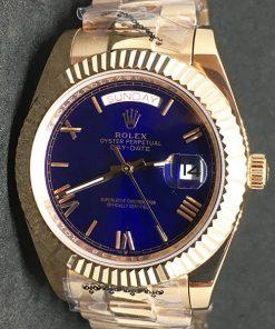 Replica Uhr Rolex Day-Date 18 (40 mm) Yellow gold )(Blaues Zifferblatt) Gold Oystersteel (schwarzes Zifferblatt) Edelstahl 316L Automatikwerk